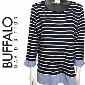 EUC Buffalo David Bitton Long Sleeve Striped Top
